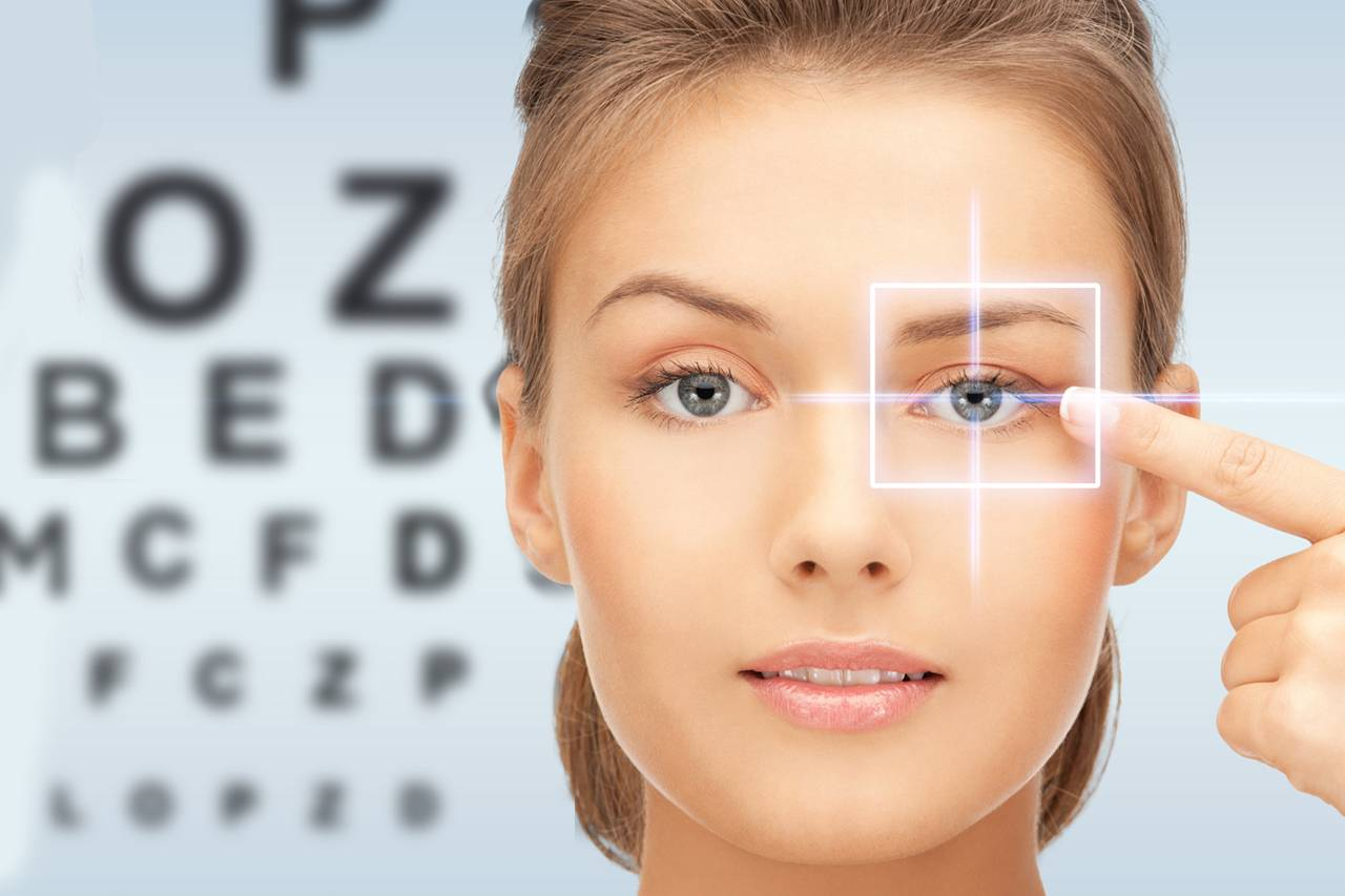 close up on eye of blonde woman in front of eye exam chart