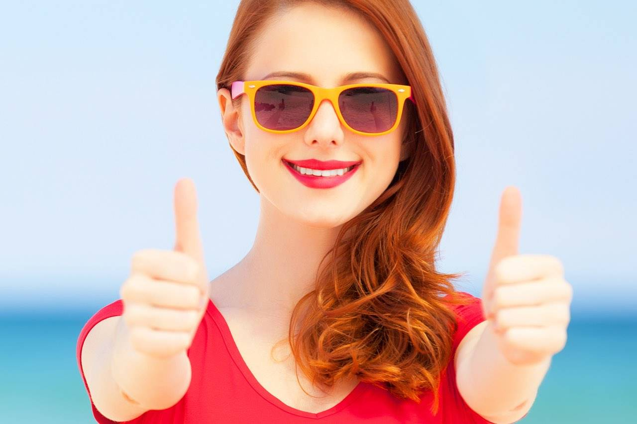 eyewear caucasian woman sunglasses bright