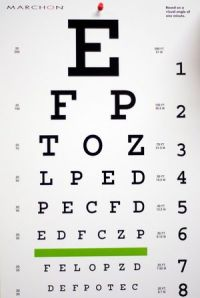 This is a picture of the Snellen chart we use when we provide eye exams in Santa Fe, TX.