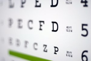 Eye exam chart used in an eye exam