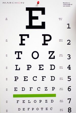Dr. Louis Hochberg, of Hamden CT, see the Chamber of Commerce, uses an eye chart like this one