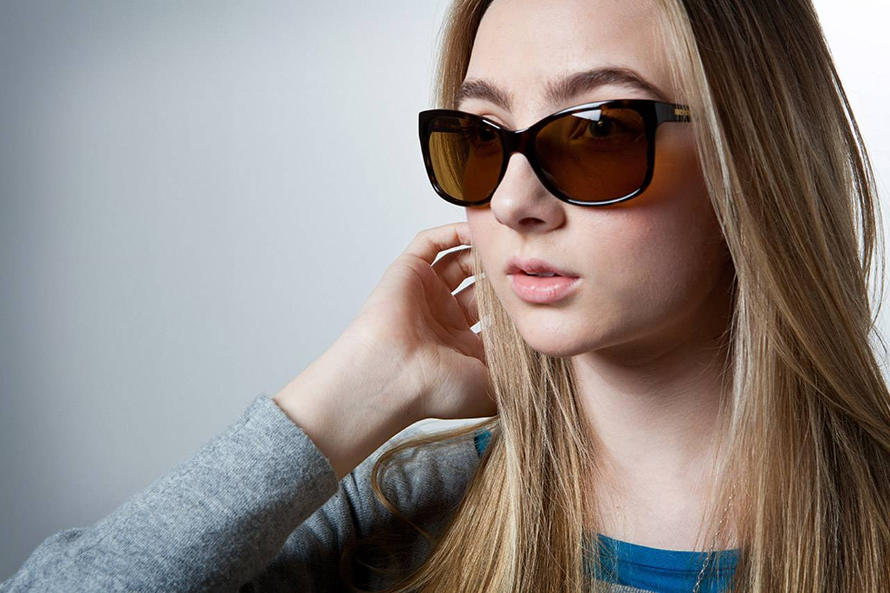bluetech girl in sunglasses