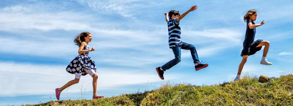 joyful children slide